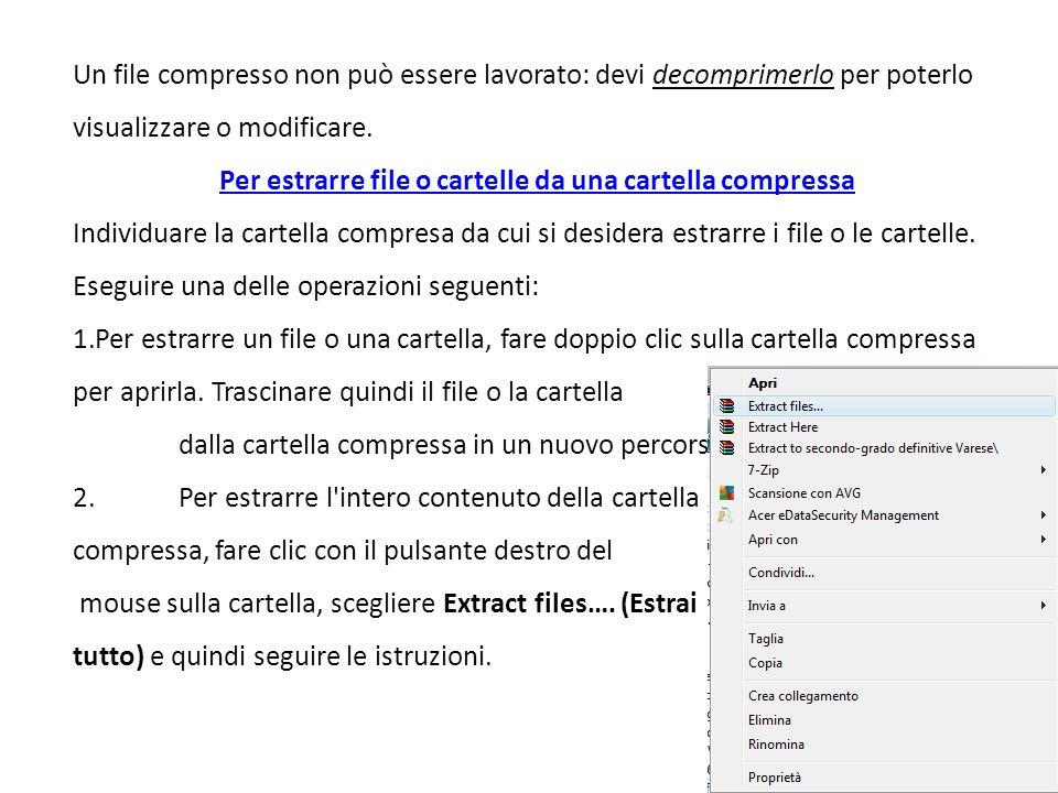 Un file compresso non può essere lavorato: devi decomprimerlo per poterlo visualizzare o modificare.