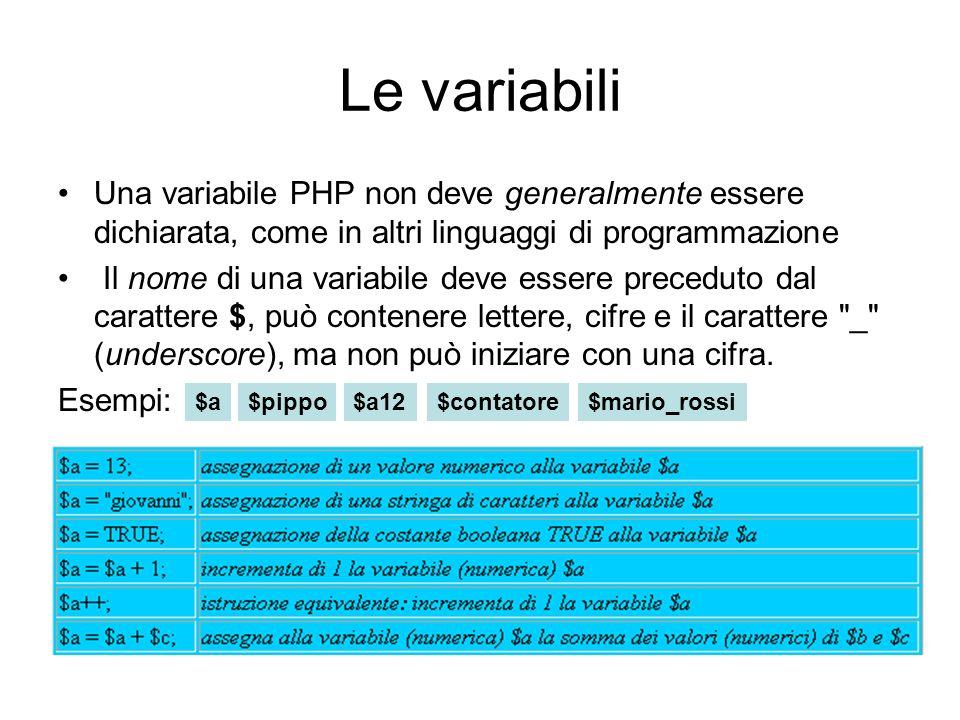 Le variabili Una variabile PHP non deve generalmente essere dichiarata, come in altri linguaggi di programmazione Il nome di una variabile deve essere preceduto dal carattere $, può contenere lettere, cifre e il carattere _ (underscore), ma non può iniziare con una cifra.