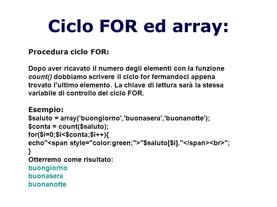 Ciclo FOR ed array: Procedura ciclo FOR: Dopo aver ricavato il numero degli elementi con la funzione count() dobbiamo scrivere il ciclo for fermandoci appena trovato l ultimo elemento.