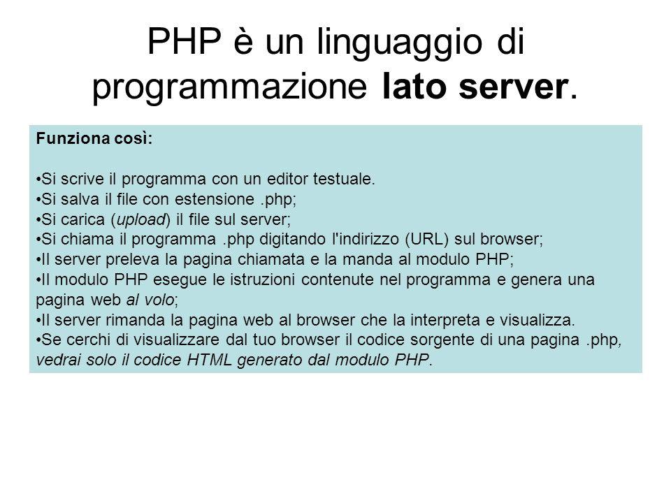 Questo significa che il codice PHP deve essere interpretato ed eseguito da un apposito modulo PHP che risiede nel server.