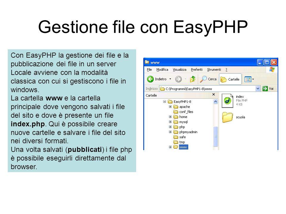 Gestione file con EasyPHP Con EasyPHP la gestione dei file e la pubblicazione dei file in un server Locale avviene con la modalità classica con cui si gestiscono i file in windows.