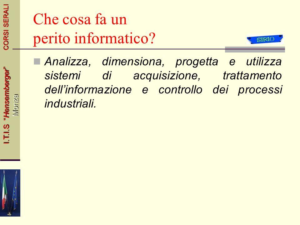 Informatica Industriale CORSI SERALI I.T.I.S Hensemberger Monza 4Italiano e Storia44 Classe IIIMATERIEClasse IVClasse V 2Inglese22 Economia Industrial