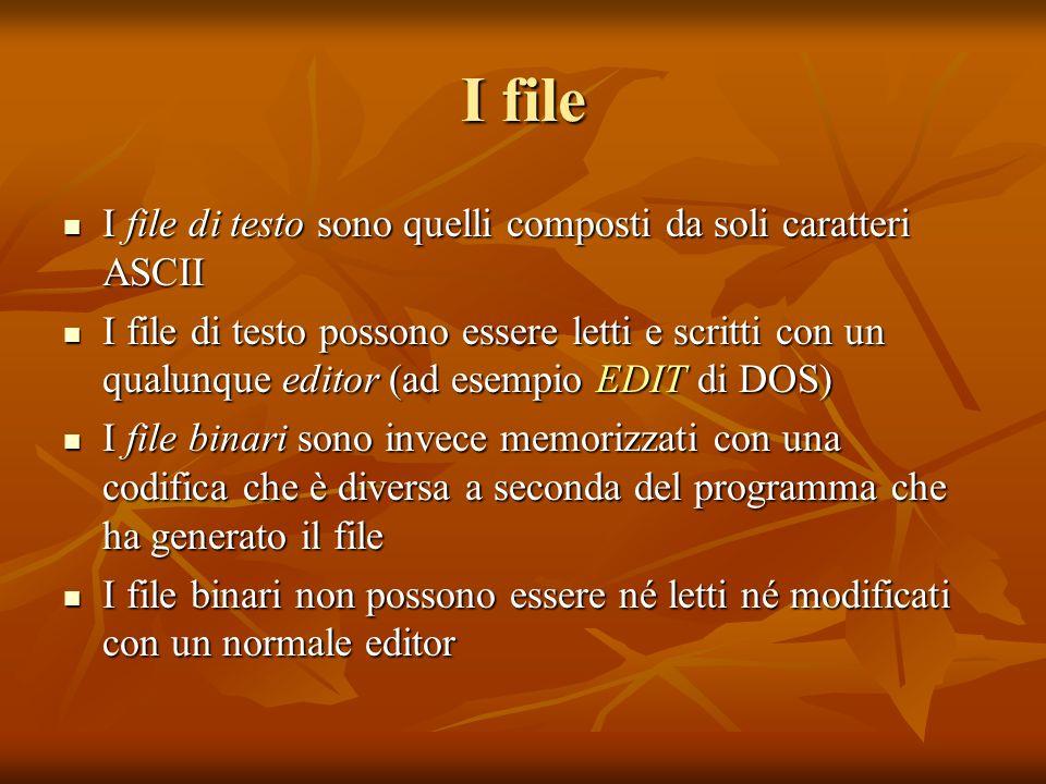 I file I file di testo sono quelli composti da soli caratteri ASCII I file di testo sono quelli composti da soli caratteri ASCII I file di testo posso
