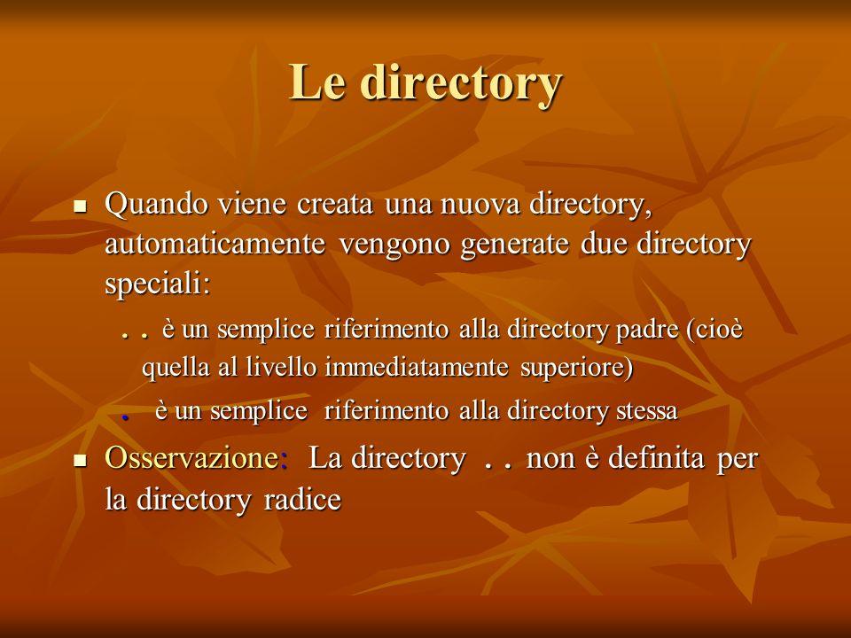 Le directory Quando viene creata una nuova directory, automaticamente vengono generate due directory speciali: Quando viene creata una nuova directory