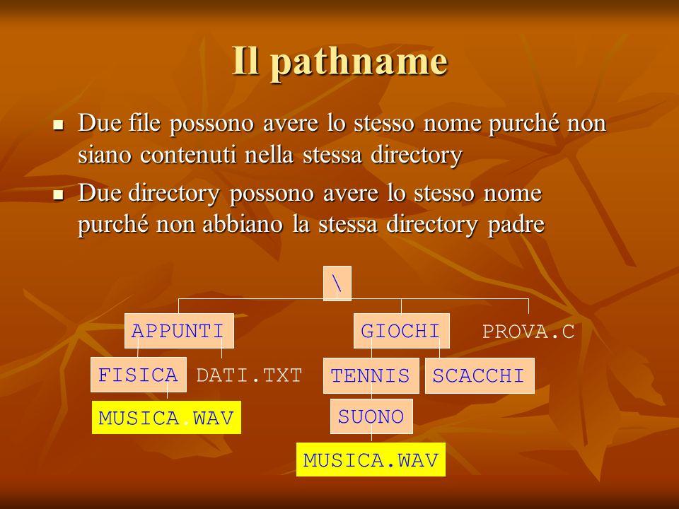 Il pathname Due file possono avere lo stesso nome purché non siano contenuti nella stessa directory Due file possono avere lo stesso nome purché non s