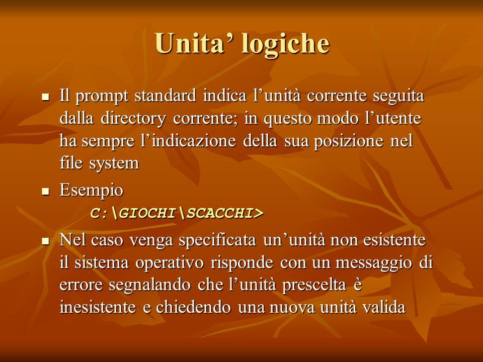 Unita logiche Il prompt standard indica lunità corrente seguita dalla directory corrente; in questo modo lutente ha sempre lindicazione della sua posi
