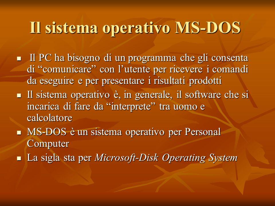 Il sistema operativo MS-DOS Il PC ha bisogno di un programma che gli consenta di comunicare con lutente per ricevere i comandi da eseguire e per prese