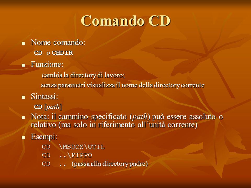 Comando CD Nome comando: Nome comando: CD o CHDIR Funzione: Funzione: cambia la directory di lavoro; senza parametri visualizza il nome della director
