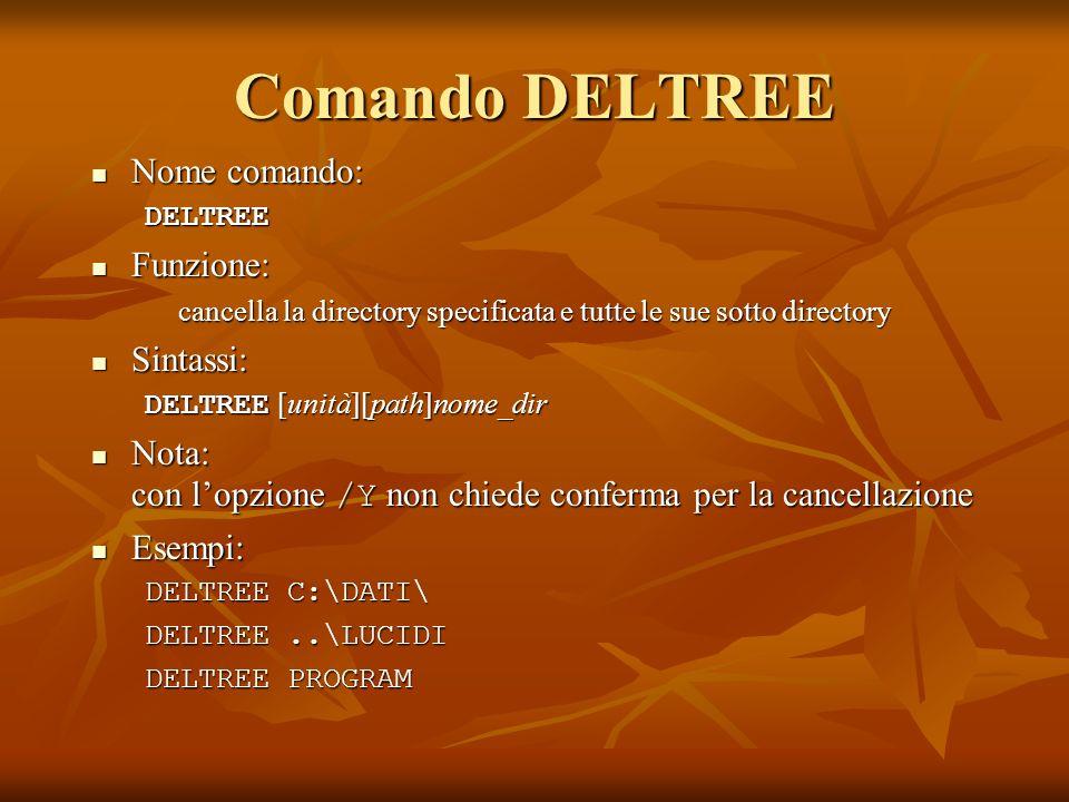 Comando DELTREE Nome comando: Nome comando:DELTREE Funzione: Funzione: cancella la directory specificata e tutte le sue sotto directory Sintassi: Sint