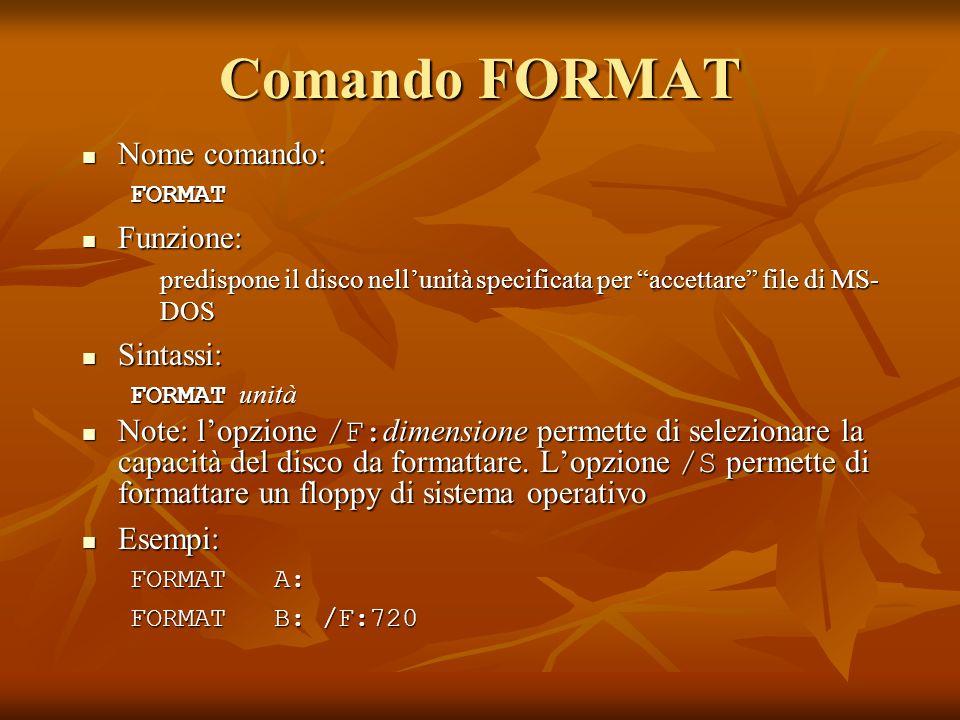 Comando FORMAT Nome comando: Nome comando:FORMAT Funzione: Funzione: predispone il disco nellunità specificata per accettare file di MS- DOS Sintassi: