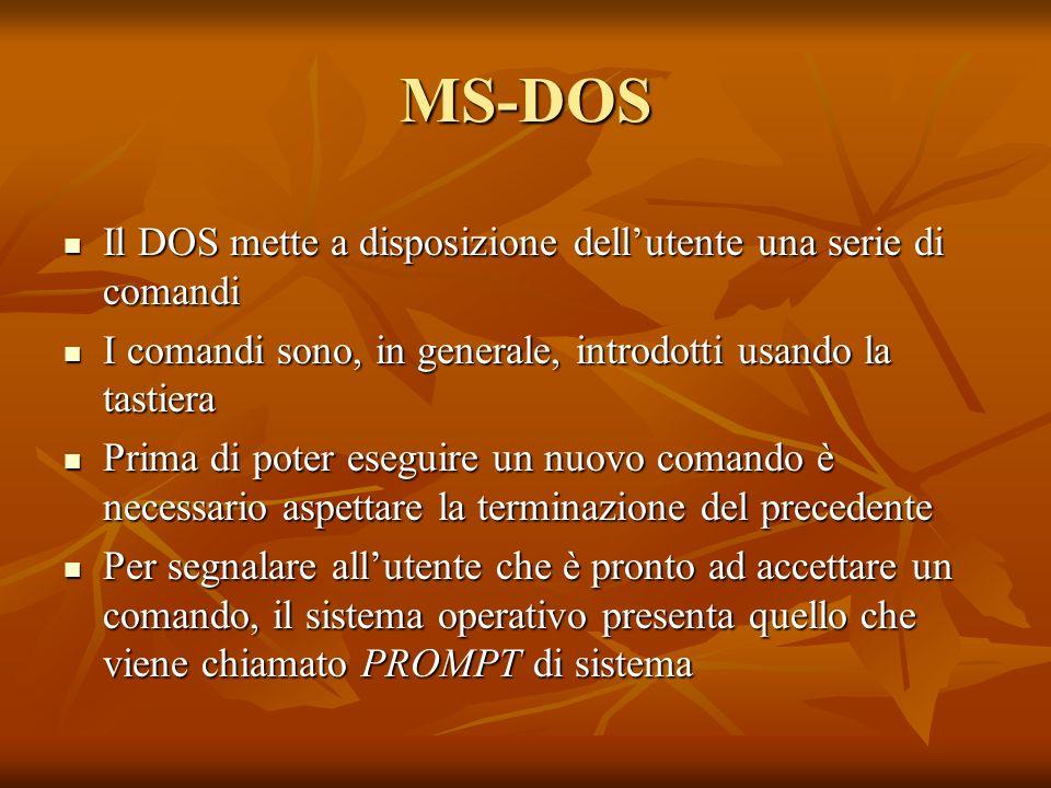 MS-DOS Il DOS mette a disposizione dellutente una serie di comandi Il DOS mette a disposizione dellutente una serie di comandi I comandi sono, in gene