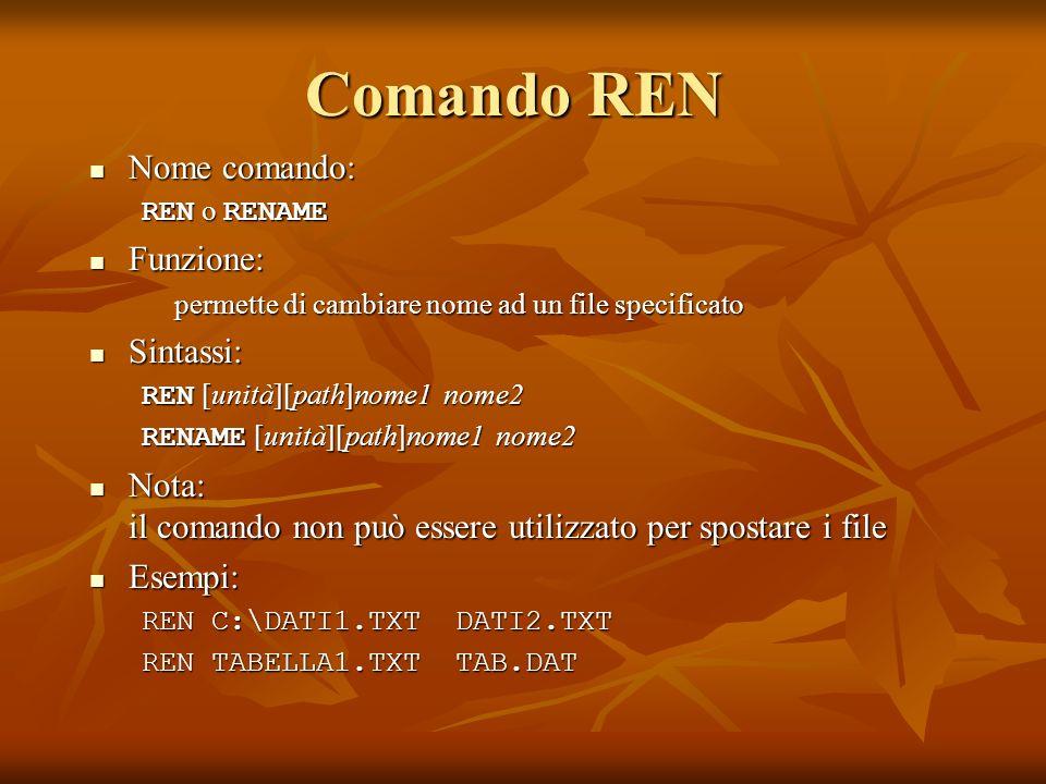 Comando REN Nome comando: Nome comando: REN o RENAME Funzione: Funzione: permette di cambiare nome ad un file specificato Sintassi: Sintassi: REN [uni