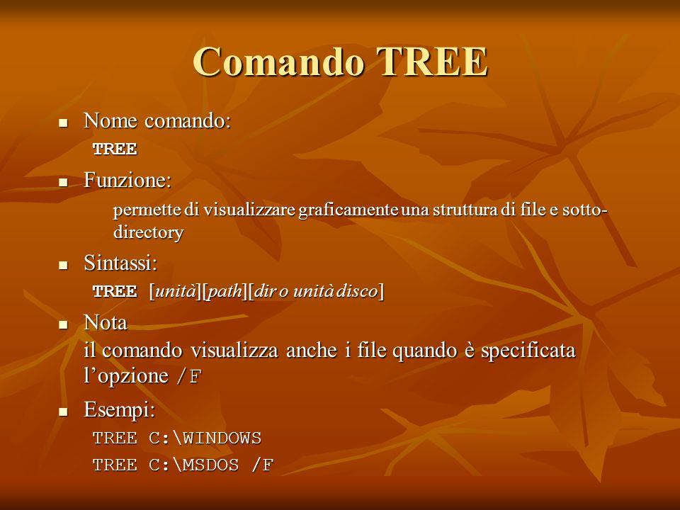 Comando TREE Nome comando: Nome comando:TREE Funzione: Funzione: permette di visualizzare graficamente una struttura di file e sotto- directory Sintas