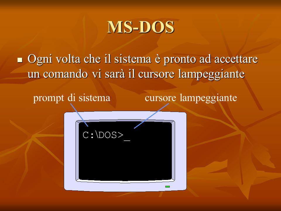 MS-DOS Ogni volta che il sistema è pronto ad accettare un comando vi sarà il cursore lampeggiante Ogni volta che il sistema è pronto ad accettare un c