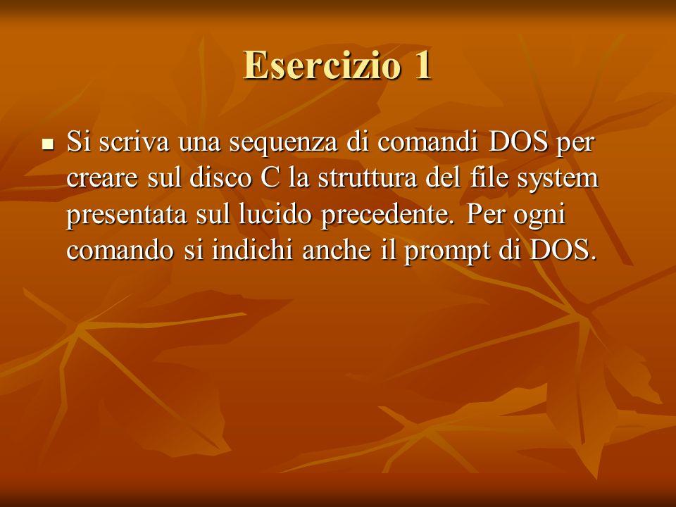Esercizio 1 Si scriva una sequenza di comandi DOS per creare sul disco C la struttura del file system presentata sul lucido precedente. Per ogni coman
