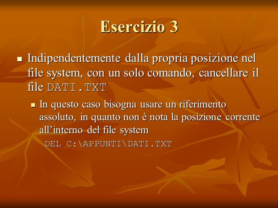 Esercizio 3 Indipendentemente dalla propria posizione nel file system, con un solo comando, cancellare il file DATI.TXT Indipendentemente dalla propri