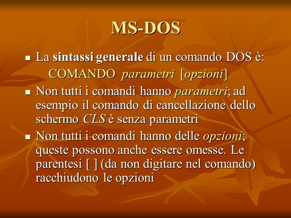 MS-DOS La sintassi generale di un comando DOS è: La sintassi generale di un comando DOS è: COMANDO parametri [opzioni] Non tutti i comandi hanno param