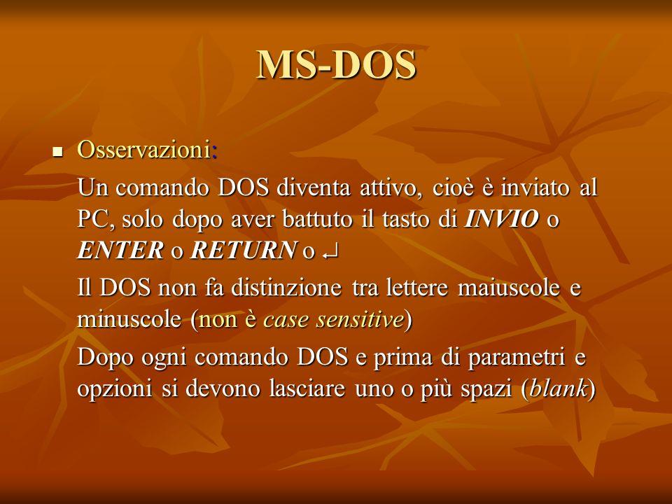 MS-DOS Osservazioni: Osservazioni: Un comando DOS diventa attivo, cioè è inviato al PC, solo dopo aver battuto il tasto di INVIO o ENTER o RETURN o Un