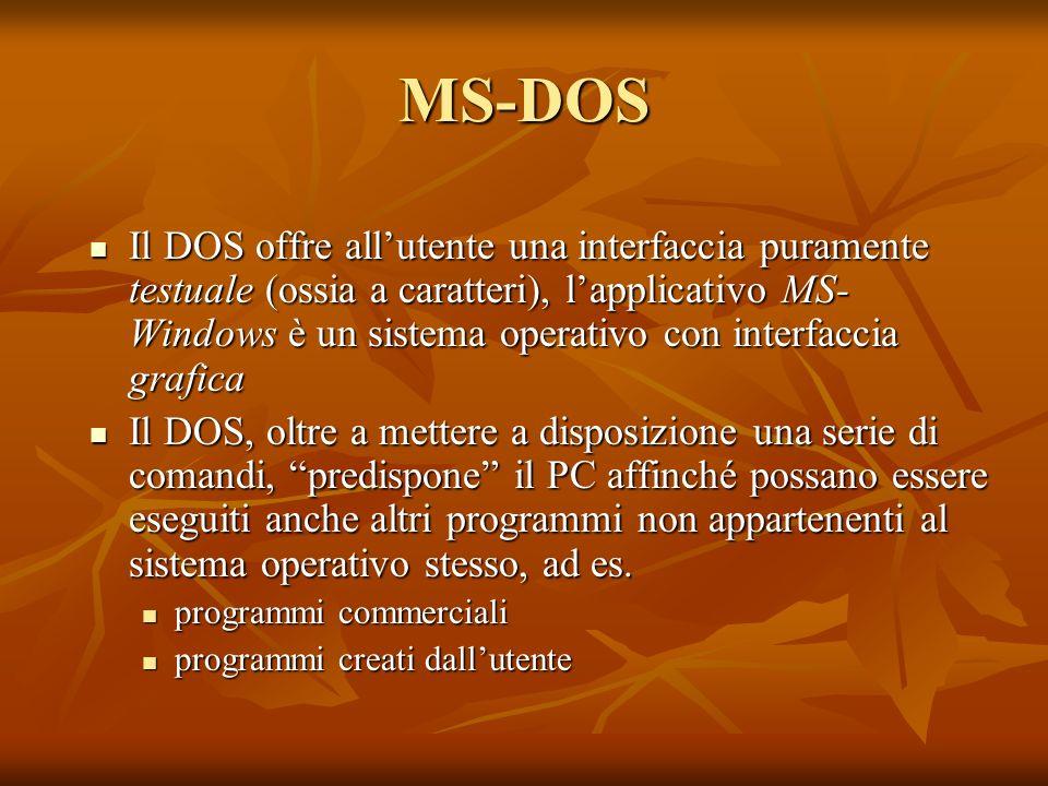 MS-DOS Il DOS offre allutente una interfaccia puramente testuale (ossia a caratteri), lapplicativo MS- Windows è un sistema operativo con interfaccia