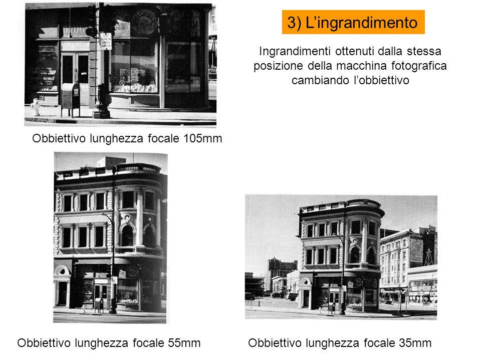Ingrandimenti ottenuti dalla stessa posizione della macchina fotografica cambiando lobbiettivo Obbiettivo lunghezza focale 105mm Obbiettivo lunghezza focale 55mmObbiettivo lunghezza focale 35mm 3) Lingrandimento