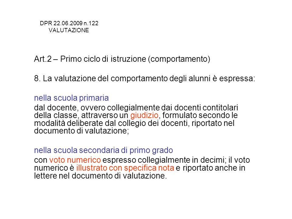 DPR 22.06.2009 n.122 VALUTAZIONE Art.2 – Primo ciclo di istruzione (comportamento) 8. La valutazione del comportamento degli alunni è espressa: nella