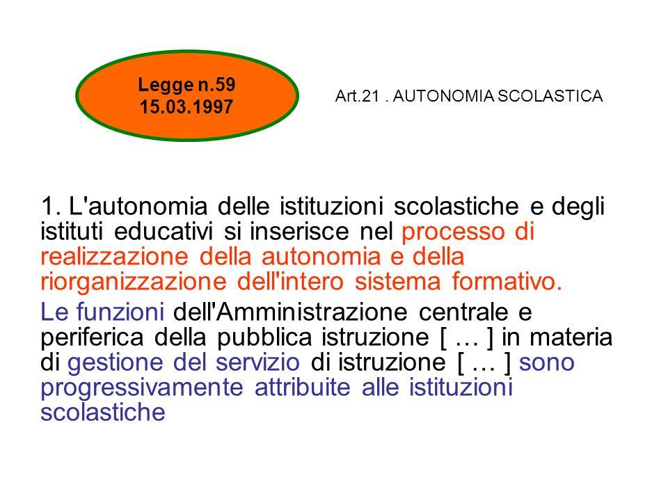 1. L'autonomia delle istituzioni scolastiche e degli istituti educativi si inserisce nel processo di realizzazione della autonomia e della riorganizza