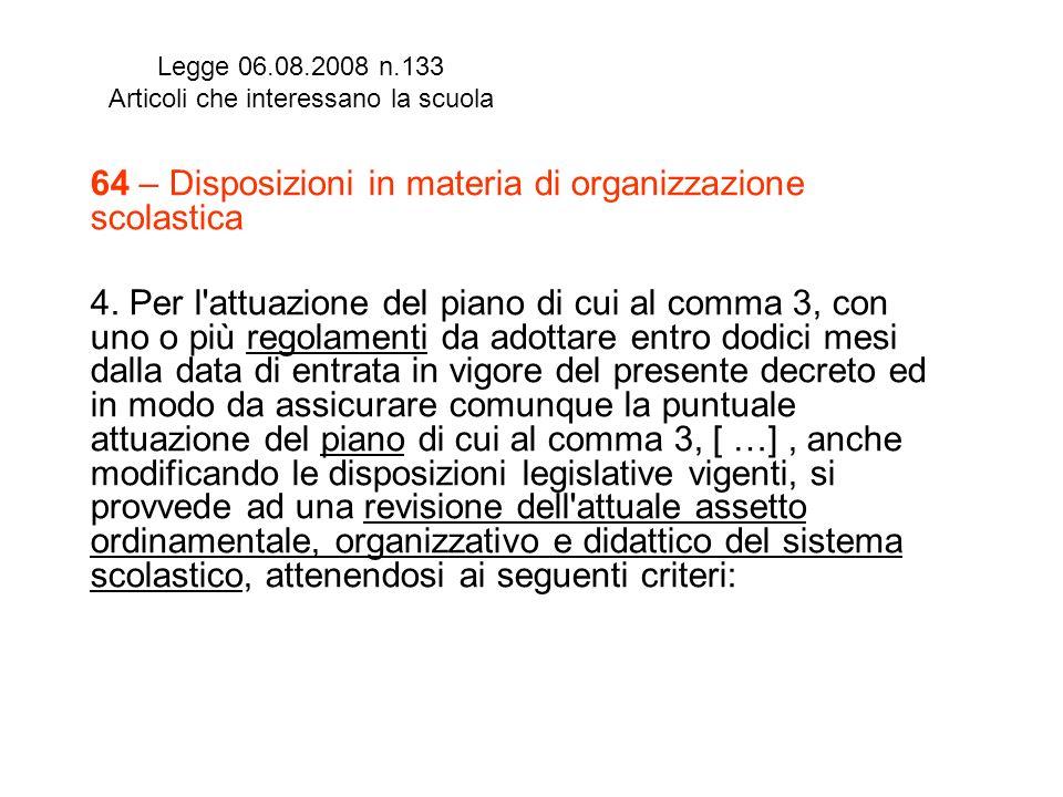 Legge 06.08.2008 n.133 Articoli che interessano la scuola 64 – Disposizioni in materia di organizzazione scolastica 4. Per l'attuazione del piano di c