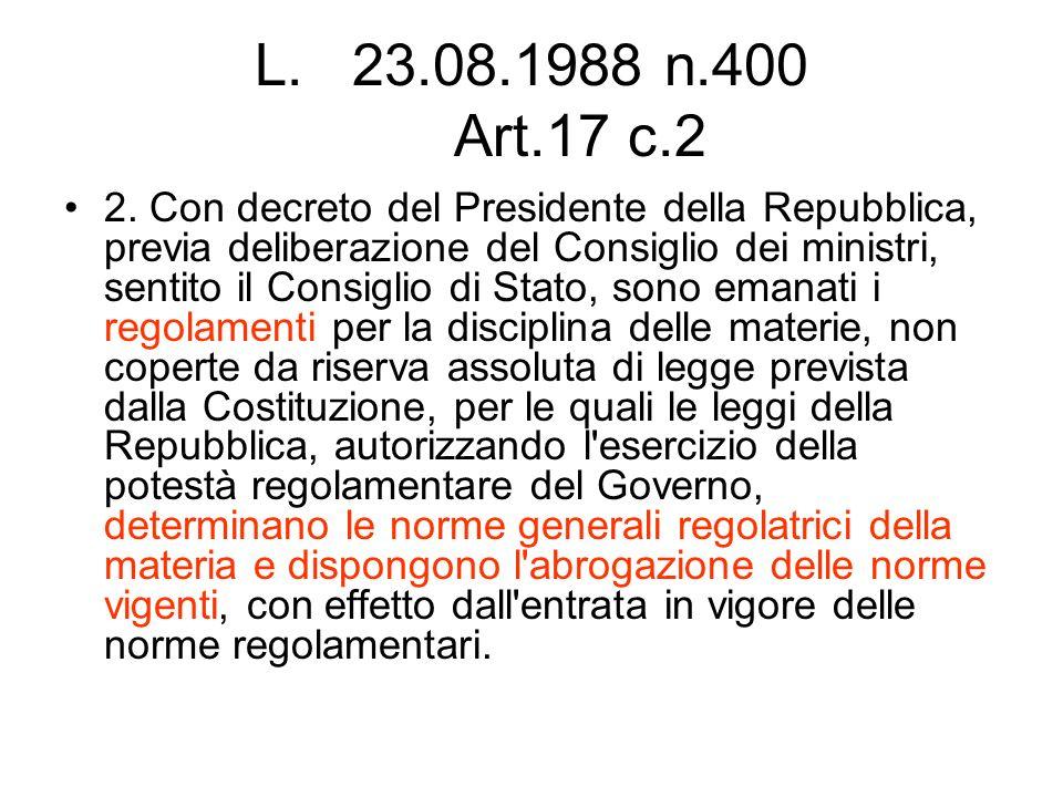 L.23.08.1988 n.400 Art.17 c.2 2. Con decreto del Presidente della Repubblica, previa deliberazione del Consiglio dei ministri, sentito il Consiglio di