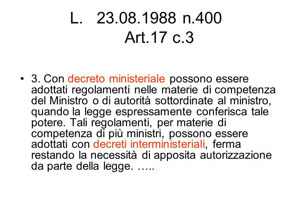 L.23.08.1988 n.400 Art.17 c.3 3. Con decreto ministeriale possono essere adottati regolamenti nelle materie di competenza del Ministro o di autorità s