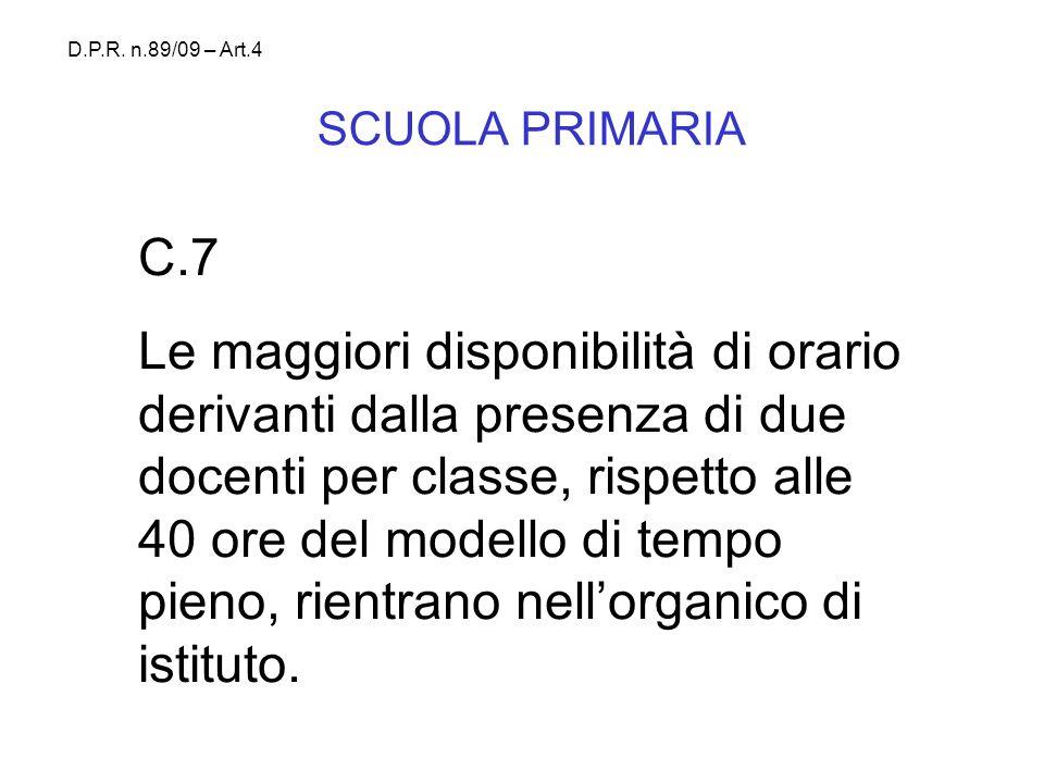 SCUOLA PRIMARIA C.7 Le maggiori disponibilità di orario derivanti dalla presenza di due docenti per classe, rispetto alle 40 ore del modello di tempo