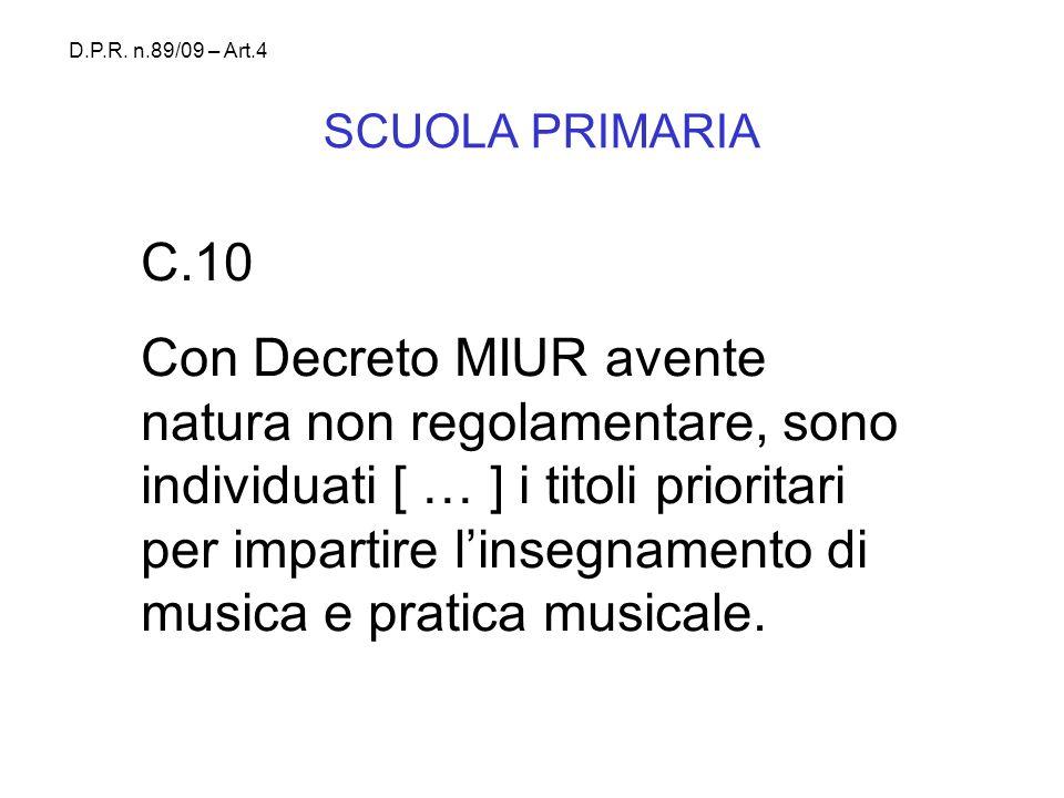 SCUOLA PRIMARIA C.10 Con Decreto MIUR avente natura non regolamentare, sono individuati [ … ] i titoli prioritari per impartire linsegnamento di music