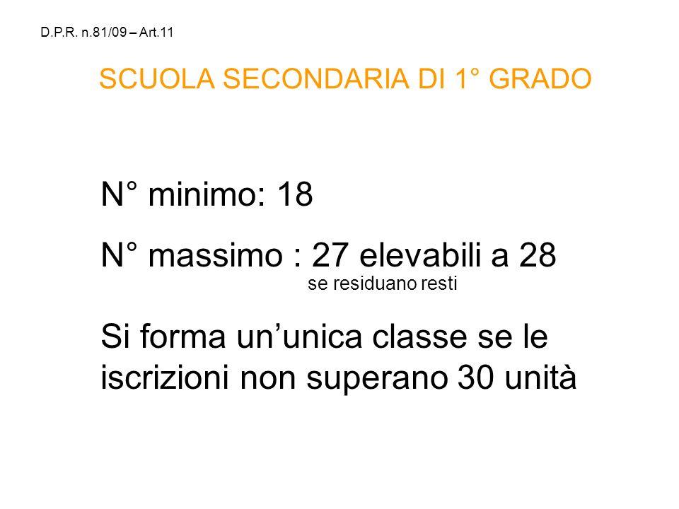 SCUOLA SECONDARIA DI 1° GRADO N° minimo: 18 N° massimo : 27 elevabili a 28 se residuano resti Si forma ununica classe se le iscrizioni non superano 30