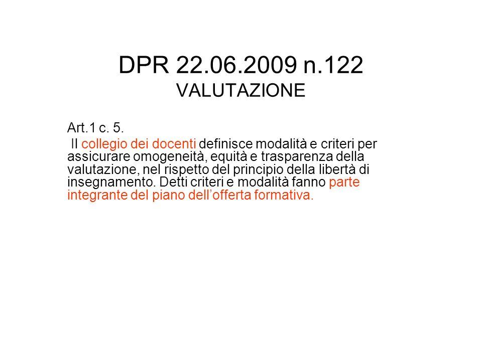 DPR 22.06.2009 n.122 VALUTAZIONE Art.1 c. 5. Il collegio dei docenti definisce modalità e criteri per assicurare omogeneità, equità e trasparenza dell