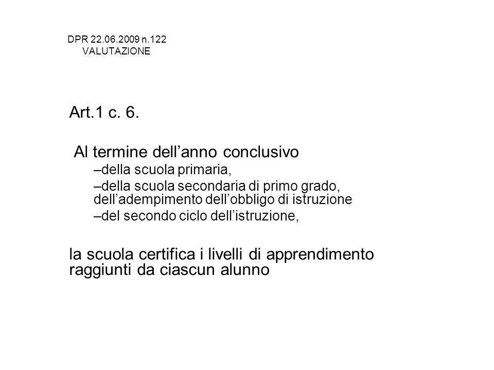 DPR 22.06.2009 n.122 VALUTAZIONE Art.1 c. 6. Al termine dellanno conclusivo –della scuola primaria, –della scuola secondaria di primo grado, dellademp