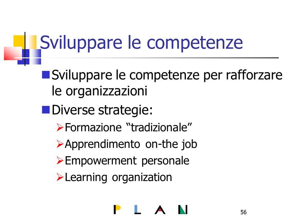 56 Sviluppare le competenze Sviluppare le competenze per rafforzare le organizzazioni Diverse strategie: Formazione tradizionale Apprendimento on-the job Empowerment personale Learning organization