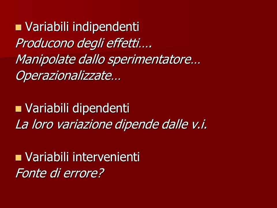 Variabili indipendenti Variabili indipendenti Producono degli effetti…. Manipolate dallo sperimentatore… Operazionalizzate… Variabili dipendenti Varia