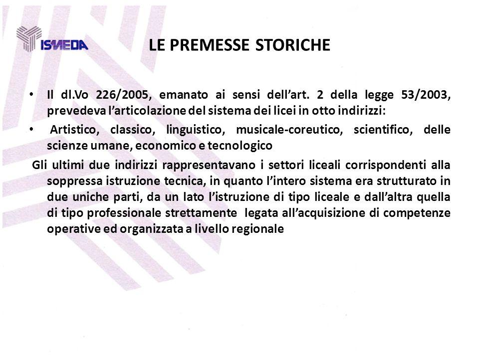 LE PREMESSE STORICHE Il dl.Vo 226/2005, emanato ai sensi dellart. 2 della legge 53/2003, prevedeva larticolazione del sistema dei licei in otto indiri