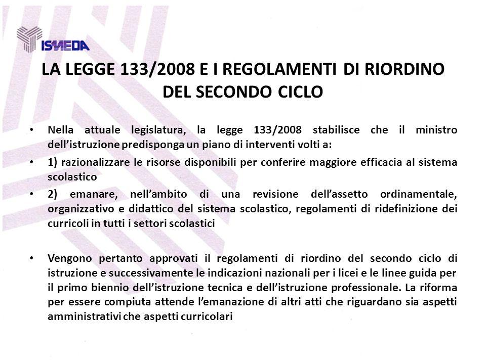 LA LEGGE 133/2008 E I REGOLAMENTI DI RIORDINO DEL SECONDO CICLO Nella attuale legislatura, la legge 133/2008 stabilisce che il ministro dellistruzione