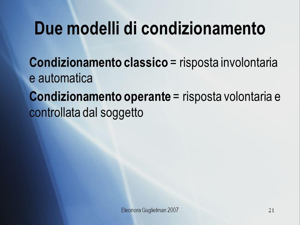 Eleonora Guglielman 200721 Due modelli di condizionamento Condizionamento classico = risposta involontaria e automatica Condizionamento operante = ris