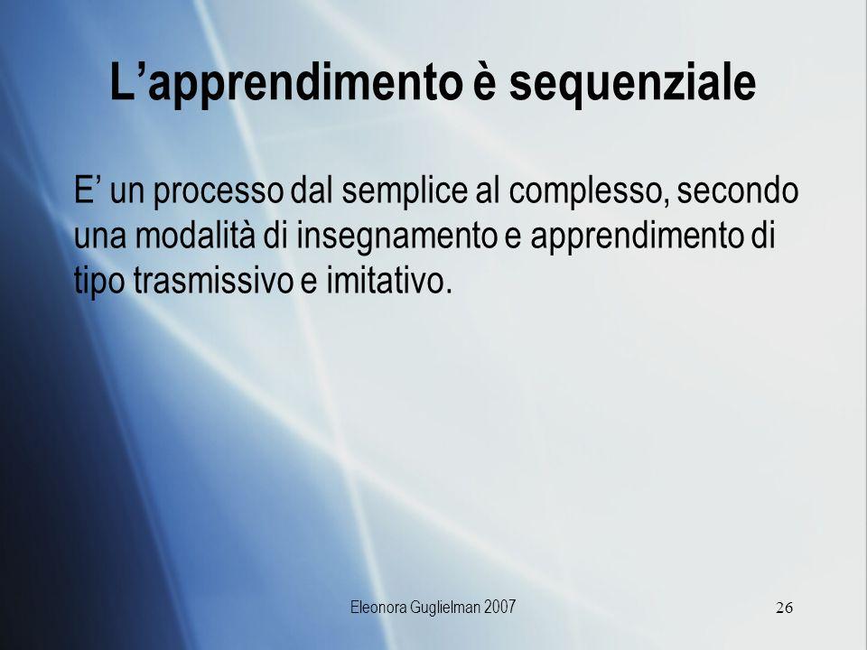 Eleonora Guglielman 200726 Lapprendimento è sequenziale E un processo dal semplice al complesso, secondo una modalità di insegnamento e apprendimento