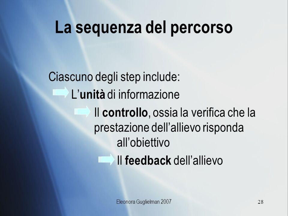 Eleonora Guglielman 200728 Ciascuno degli step include: L unità di informazione Il controllo, ossia la verifica che la prestazione dellallievo rispond