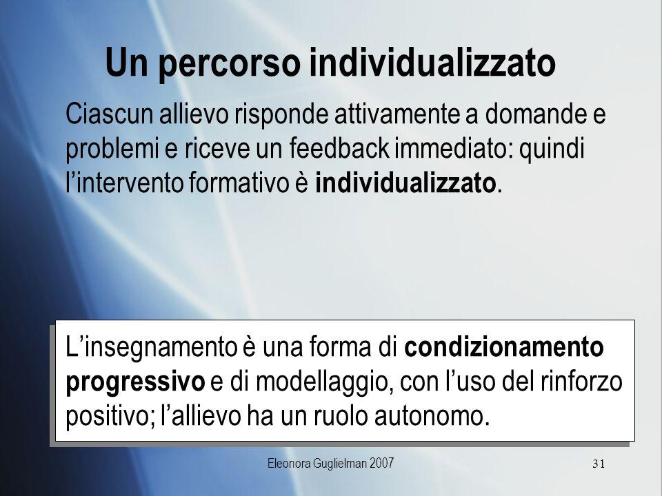 Eleonora Guglielman 200731 Un percorso individualizzato Ciascun allievo risponde attivamente a domande e problemi e riceve un feedback immediato: quin