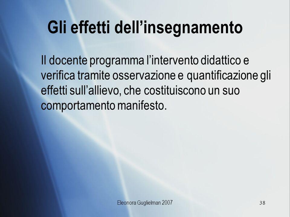 Eleonora Guglielman 200738 Gli effetti dellinsegnamento Il docente programma lintervento didattico e verifica tramite osservazione e quantificazione g