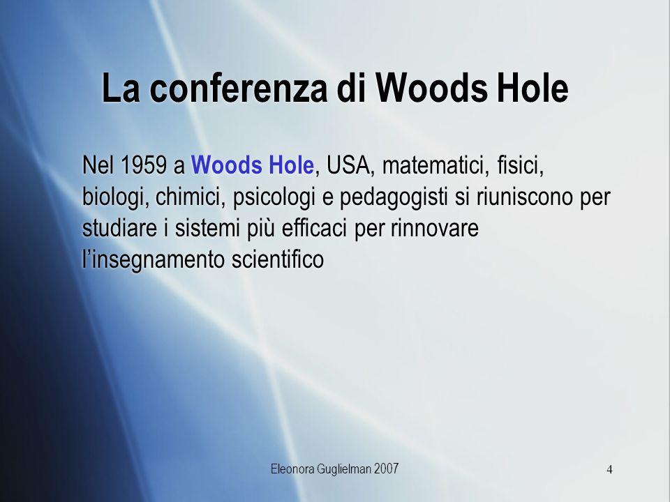 Eleonora Guglielman 20074 La conferenza di Woods Hole Nel 1959 a Woods Hole, USA, matematici, fisici, biologi, chimici, psicologi e pedagogisti si riu