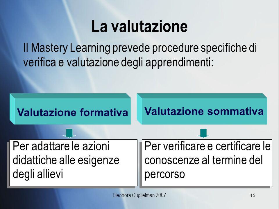 Eleonora Guglielman 200746 La valutazione Il Mastery Learning prevede procedure specifiche di verifica e valutazione degli apprendimenti: Valutazione