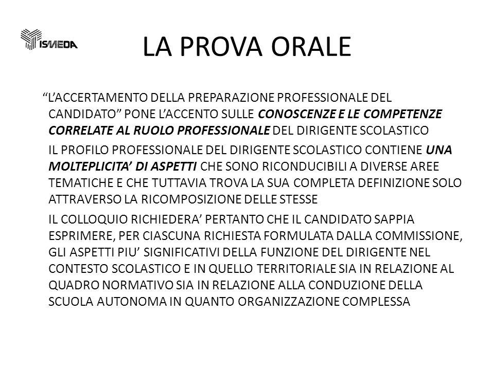 LA PROVA ORALE LACCERTAMENTO DELLA PREPARAZIONE PROFESSIONALE DEL CANDIDATO PONE LACCENTO SULLE CONOSCENZE E LE COMPETENZE CORRELATE AL RUOLO PROFESSIONALE DEL DIRIGENTE SCOLASTICO IL PROFILO PROFESSIONALE DEL DIRIGENTE SCOLASTICO CONTIENE UNA MOLTEPLICITA DI ASPETTI CHE SONO RICONDUCIBILI A DIVERSE AREE TEMATICHE E CHE TUTTAVIA TROVA LA SUA COMPLETA DEFINIZIONE SOLO ATTRAVERSO LA RICOMPOSIZIONE DELLE STESSE IL COLLOQUIO RICHIEDERA PERTANTO CHE IL CANDIDATO SAPPIA ESPRIMERE, PER CIASCUNA RICHIESTA FORMULATA DALLA COMMISSIONE, GLI ASPETTI PIU SIGNIFICATIVI DELLA FUNZIONE DEL DIRIGENTE NEL CONTESTO SCOLASTICO E IN QUELLO TERRITORIALE SIA IN RELAZIONE AL QUADRO NORMATIVO SIA IN RELAZIONE ALLA CONDUZIONE DELLA SCUOLA AUTONOMA IN QUANTO ORGANIZZAZIONE COMPLESSA