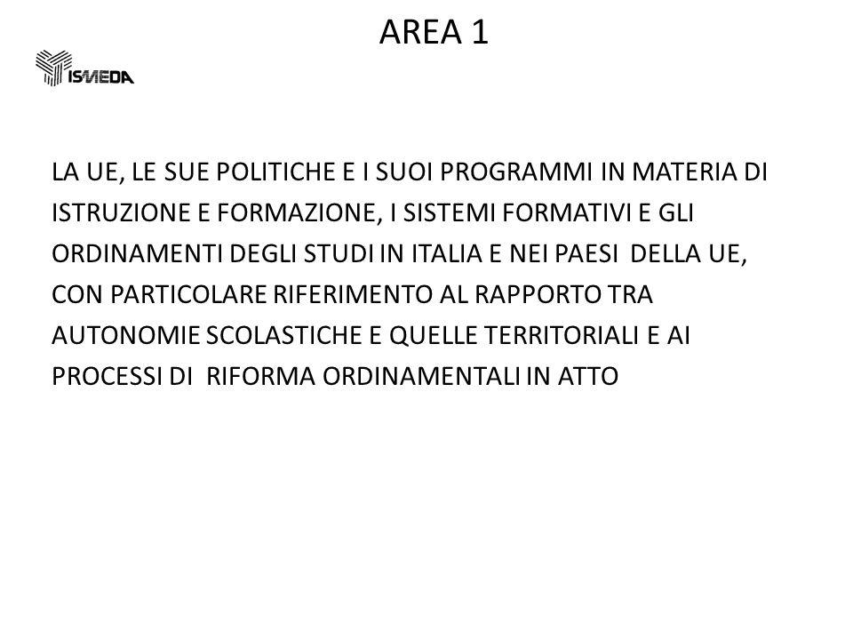 AREA 1 LA UE, LE SUE POLITICHE E I SUOI PROGRAMMI IN MATERIA DI ISTRUZIONE E FORMAZIONE, I SISTEMI FORMATIVI E GLI ORDINAMENTI DEGLI STUDI IN ITALIA E NEI PAESI DELLA UE, CON PARTICOLARE RIFERIMENTO AL RAPPORTO TRA AUTONOMIE SCOLASTICHE E QUELLE TERRITORIALI E AI PROCESSI DI RIFORMA ORDINAMENTALI IN ATTO