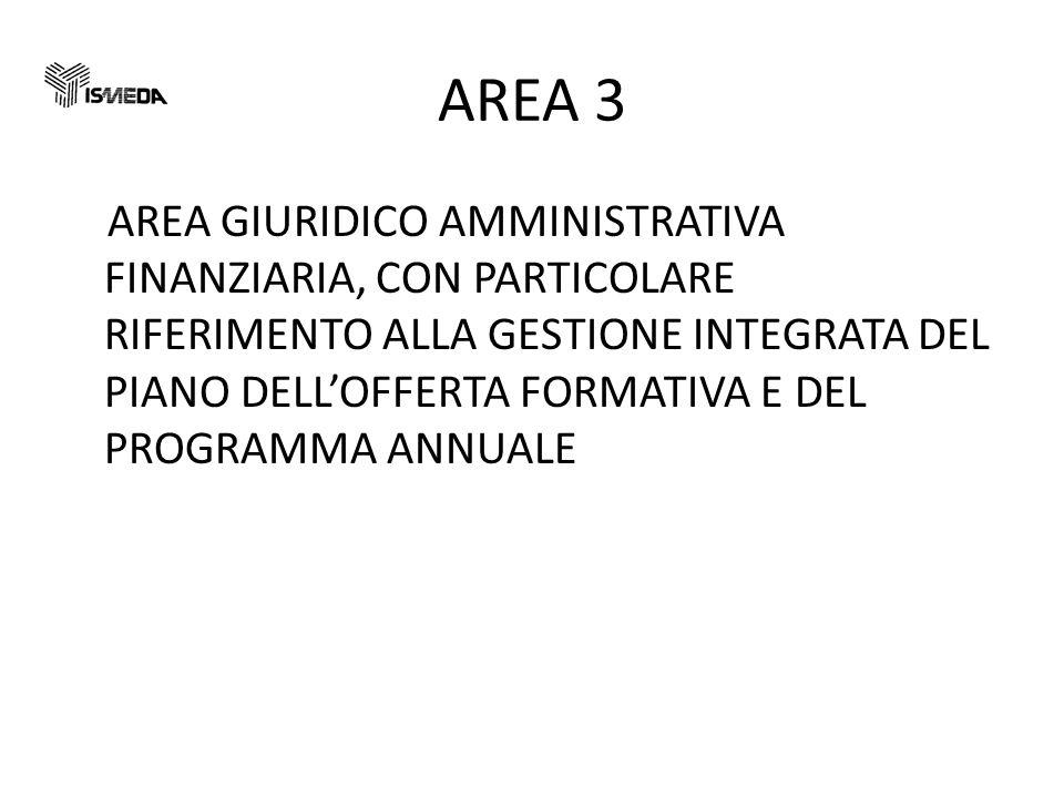 AREA 3 AREA GIURIDICO AMMINISTRATIVA FINANZIARIA, CON PARTICOLARE RIFERIMENTO ALLA GESTIONE INTEGRATA DEL PIANO DELLOFFERTA FORMATIVA E DEL PROGRAMMA ANNUALE