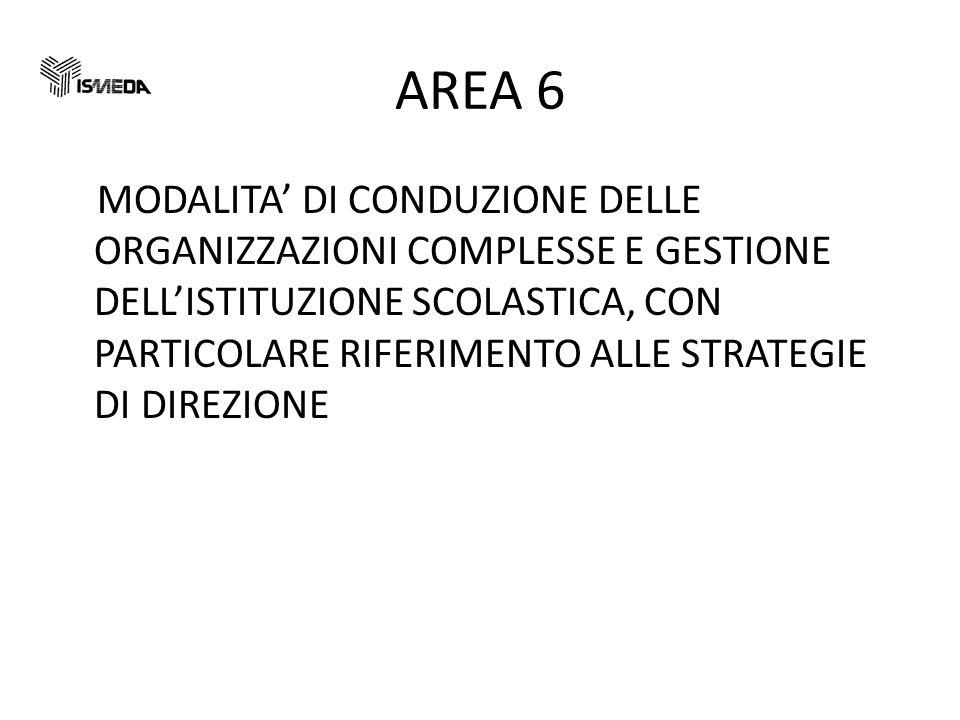 AREA 6 MODALITA DI CONDUZIONE DELLE ORGANIZZAZIONI COMPLESSE E GESTIONE DELLISTITUZIONE SCOLASTICA, CON PARTICOLARE RIFERIMENTO ALLE STRATEGIE DI DIREZIONE