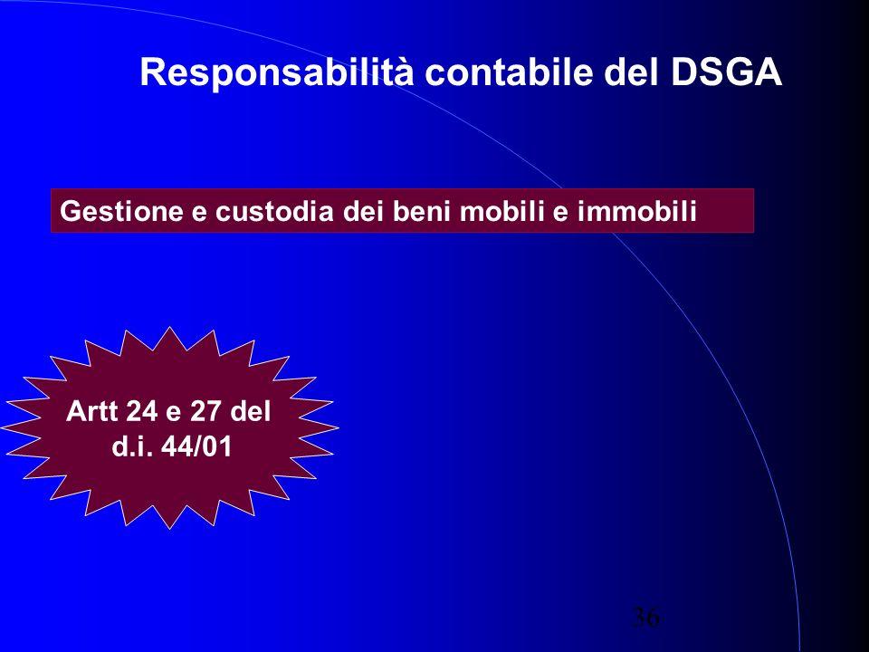 36 Responsabilità contabile del DSGA Gestione e custodia dei beni mobili e immobili Artt 24 e 27 del d.i.